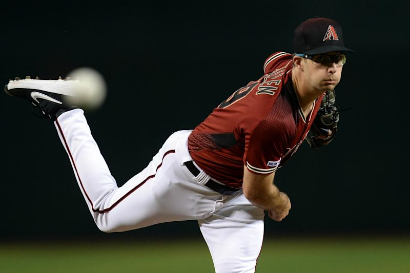 Sep 4, 2019; Phoenix, AZ, USA; Arizona Diamondbacks starting pitcher Zac Gallen (59) pitches against the San Diego Padres during the first inning at Chase Field. Mandatory Credit: Joe Camporeale-USA TODAY Sports