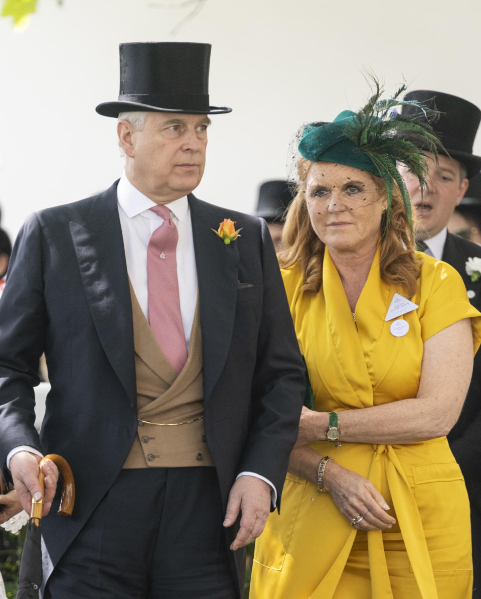 Prince Andrew, Duke of York and Sarah Ferguson, Duchess of York on day four of Royal Ascot at Ascot Racecourse on June 21, 2019 in Ascot, England.
