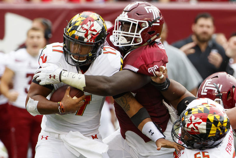 FILE - In this Sept. 14, 2019, file photo, Temple defensive tackle Ifeanyi Maijeh (88) sacks Maryland quarterback Josh Jackson (17) during the first half of an NCAA college football, in Philadelphia. Temple wants to go 2-for-2 in knocking off Top 25 teams at home when they take on Memphis on Saturday. (AP Photo/Chris Szagola, File)