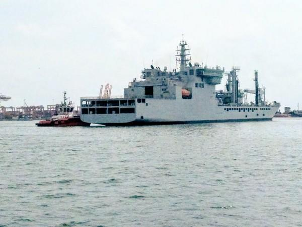 Indian Naval Vessel Shakti on Sunday reached Colombo with 100 tons of Oxygen from Visakhapatnam. (ANI)
