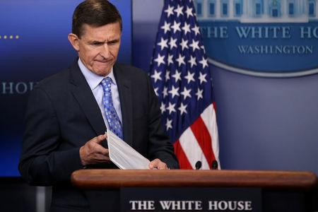 National security adviser General Michael Flynn arrives to deliver a statement during the daily briefing at the White House, February 1, 2017. REUTERS/Carlos Barria