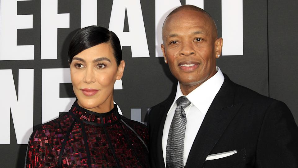 """LOS ANGELES - JUN 22: Nicole Young, Dr Dre at """"The Defiant Ones"""" HBO Premiere Screening at the Paramount Theater on June 22, 2017 in Los Angeles, CA."""