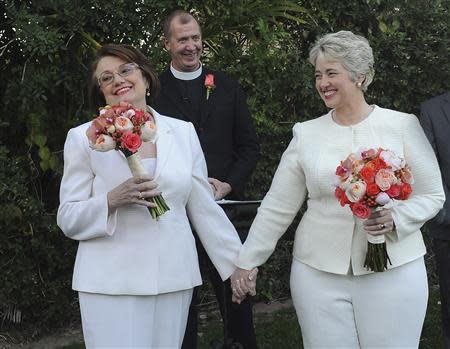 Houston Mayor Annise Parker marries her long-term partner Kathy Hubbard in a ceremony in Palm Springs