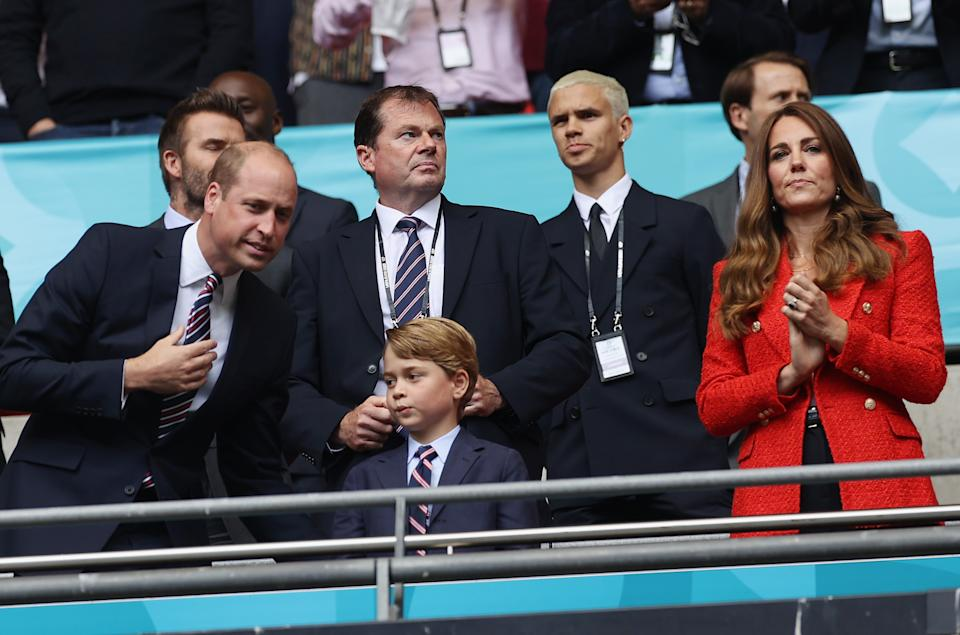 LONDON, ENGLAND - JUNE 29: Prince William, President of the Football Association along with Catherine, Duchess of Cambridge applaud prior to the UEFA Euro 2020 Championship Round of 16 match between England and Germany at Wembley Stadium on June 29, 2021 in London, England. (Photo by Eddie Keogh - The FA/The FA via Getty Images)