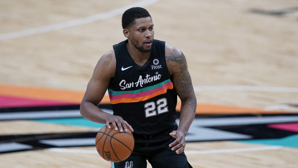 San Antonio Spurs forward Rudy Gay (22) during the first half of an NBA basketball game against the Golden State Warriors in San Antonio, Tuesday, Feb. 9, 2021. (AP Photo/Eric Gay)
