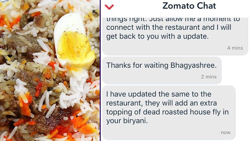 Zomato Executive Adds a Roasted Fly on Biryani Order in Delhi, After Woman Complains Against It