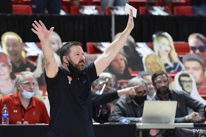 Texas Tech head coach Chris Beard reacts on the sideline during the second half of an NCAA college basketball game in Lubbock, Texas, Saturday, Feb. 27, 2021. (AP Photo/Justin Rex)