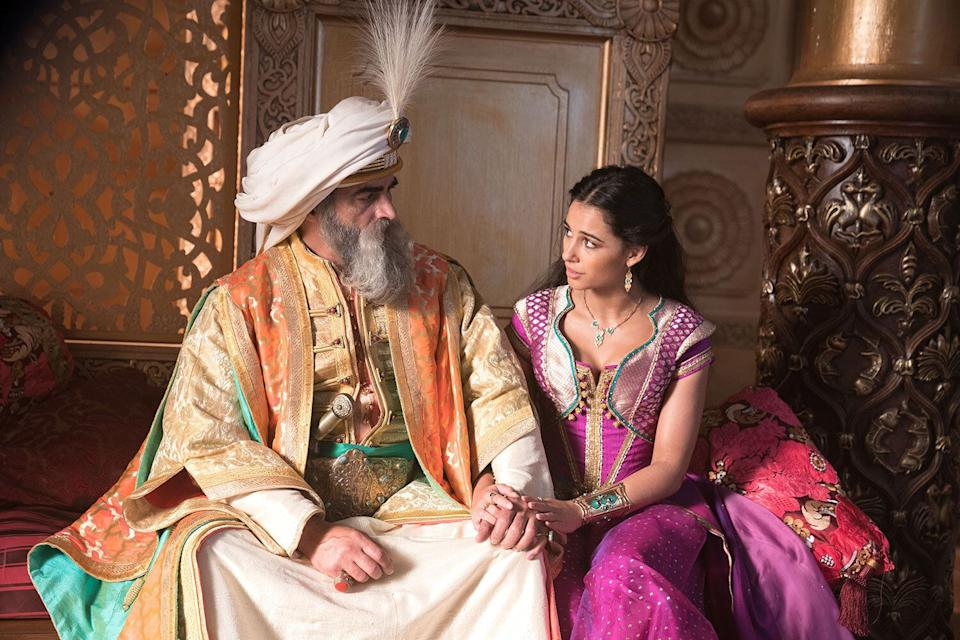 Navid Negahban is the Sultan and Naomi Scott is Jasmine in Disney's live-action ALADDIN, directed by Guy Ritchie. (Daniel Smith/© 2019 Disney Enterprises, Inc. All Rights Reserved)