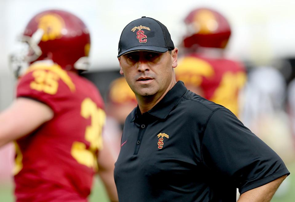 Steve Sarkisian, the current offensive coordinator for the Atlanta Falcons, was fired from USC in 2015 after multiple incidents. (Getty Images)