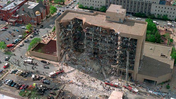 PHOTO: In this April 19, 1995, file photo, the north side of the Alfred P. Murrah Federal Building in Oklahoma City is pictured after an explosion that killed 168 people and injured hundreds. (AP, FILE)