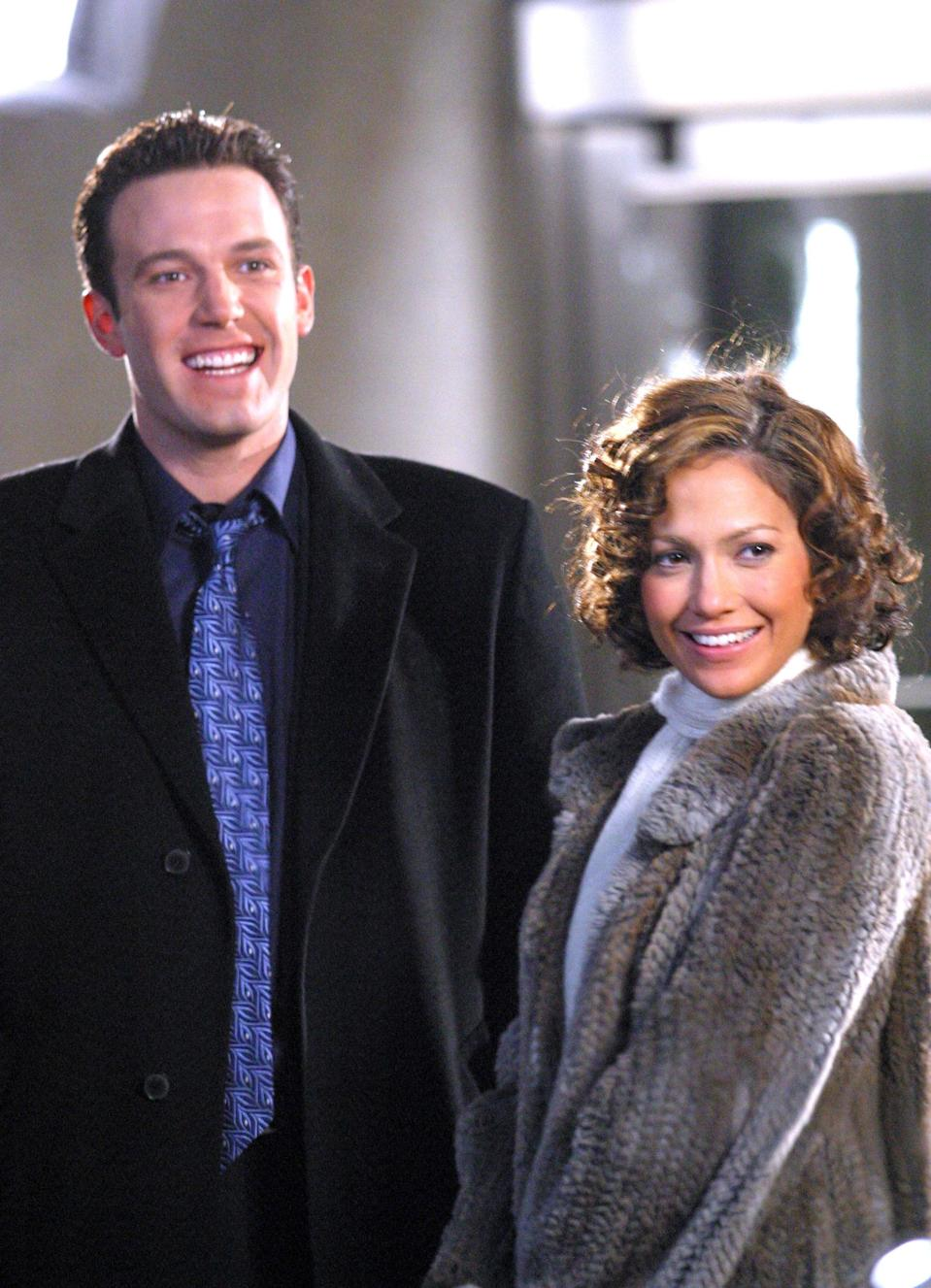 <p>The two were all smiles on the set of their film <strong>Jersey Girl</strong> in November 2002. </p>
