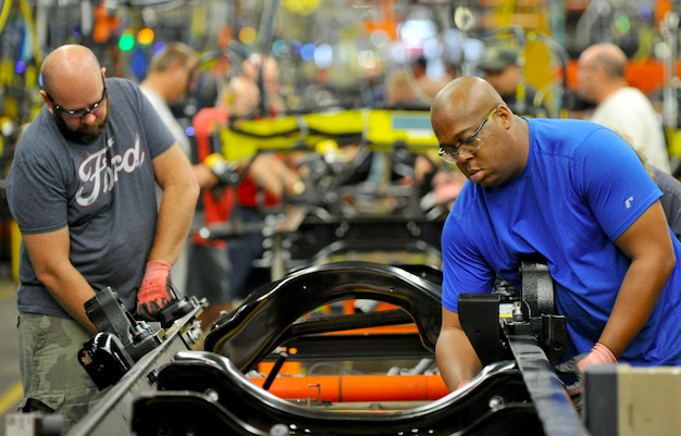 Workers at a Ford motor plant: Ford press office