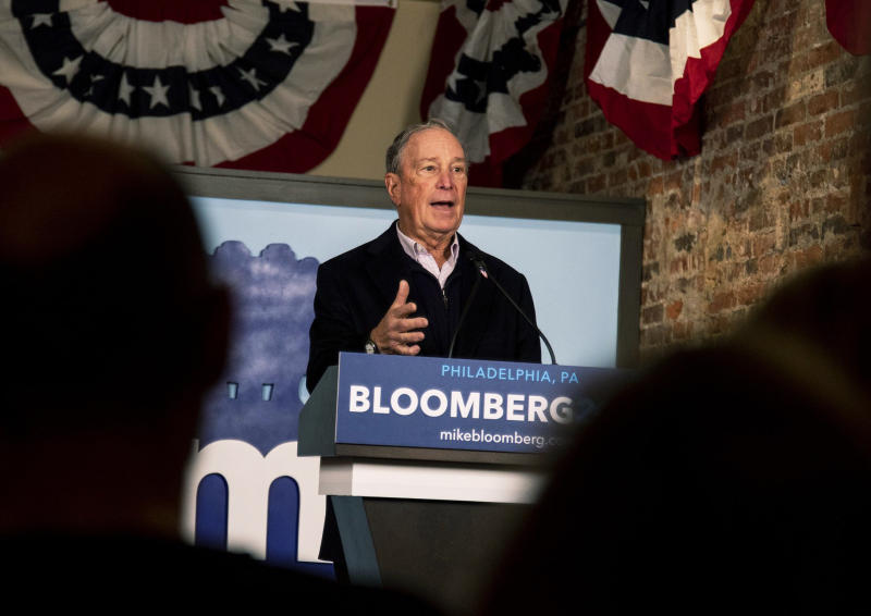 Democratic presidential candidate Michael Bloomberg speaks to volunteers and supporters in Old City in his first field office in Philadelphia on Saturday, Dec. 21, 2019. (Tyger Williams/The Philadelphia Inquirer via AP)