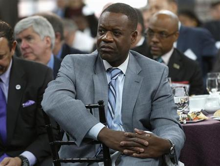 Detroit Emergency Manager Orr listens to a panel discussion in Detroit, Michigan