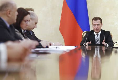 Russian Prime Minister Dmitry Medvedev chairs a meeting on economic issues in Moscow