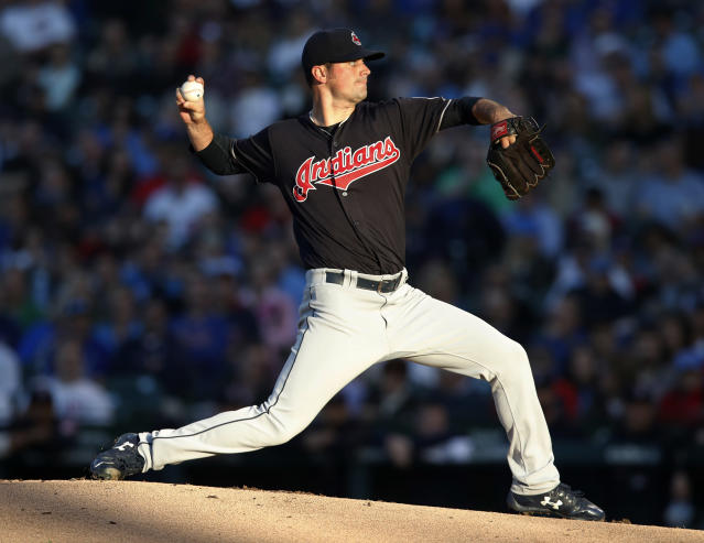 Cleveland Indians' Adam Plutko pitches during the first inning of the team's baseball game against the Chicago Cubs on Wednesday, May 23, 2018, in Chicago. (AP Photo/Jim Young)