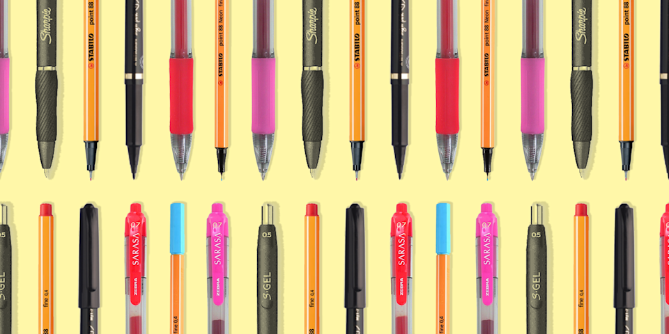"""<p>My life changed in the bottom floor of Japanese book store in New York. That's when I met my soul mate—in pen form, at least. Once I tried out the <a href=""""https://www.jetpens.com/Zebra-Sarasa-Clip-Gel-Pen-0.4-mm-10-Color-Set/pd/1327?gclid=CjwKCAiA6aSABhApEiwA6Cbm_0cSIyLSWPqPy18CWmG19QD4OtWaGYbkBAQu7IEUxbdcuHINGaWWDBoCYS8QAvD_BwE"""" rel=""""nofollow noopener"""" target=""""_blank"""" data-ylk=""""slk:Zebra Sarasa .4"""" class=""""link rapid-noclick-resp"""">Zebra Sarasa .4</a>, I never looked back. Now, my favorite pens are rattling around in <a href=""""https://www.oprahmag.com/life/a32689915/how-to-create-office-space-working-from-home/"""" rel=""""nofollow noopener"""" target=""""_blank"""" data-ylk=""""slk:desk drawers"""" class=""""link rapid-noclick-resp"""">desk drawers</a>, <a href=""""https://www.oprahmag.com/style/g25734977/cute-crossbody-bags/"""" rel=""""nofollow noopener"""" target=""""_blank"""" data-ylk=""""slk:purse bottoms"""" class=""""link rapid-noclick-resp"""">purse bottoms</a>, and beyond. </p><p>I'm far from the only person irrevocably bonded to their favorite pen. Writer Jeanna Kadlec exclusively uses Pilot G2s; Victoria Barrett doesn't need anything fancier than blue <a href=""""https://www.amazon.com/Paper-Mate-Ballpoint-Medium-3311131/dp/B00006IE5K?tag=syn-yahoo-20&ascsubtag=%5Bartid%7C10072.g.35227572%5Bsrc%7Cyahoo-us"""" rel=""""nofollow noopener"""" target=""""_blank"""" data-ylk=""""slk:PaperMate ballpoints"""" class=""""link rapid-noclick-resp"""">PaperMate ballpoints</a>. For writer and longtime journaler <a href=""""https://www.anikafajardo.com/"""" rel=""""nofollow noopener"""" target=""""_blank"""" data-ylk=""""slk:Anika Fajardo"""" class=""""link rapid-noclick-resp"""">Anika Fajardo</a>, the pen is even more important than the <a href=""""https://www.oprahmag.com/life/g27310718/best-journals-for-writing/"""" rel=""""nofollow noopener"""" target=""""_blank"""" data-ylk=""""slk:notebook (though those are crucial"""" class=""""link rapid-noclick-resp"""">notebook (though those are crucial</a>, too). """"Pens are the conduit from your thoughts to the page,"""" she tells OprahMag.com. While PaperMate and Pilot"""