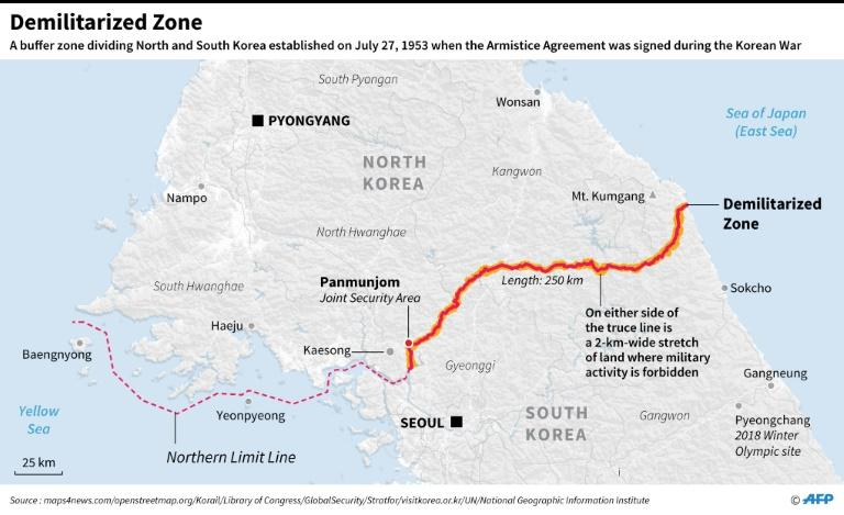 Map of the Demilitarized Zone that has divided the Koreas for decades. (AFP Photo/Laurence CHU)