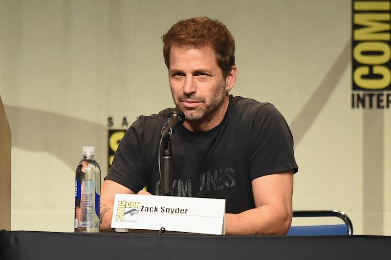 "SAN DIEGO, CA - JULY 11: Director Zack Snyder from ""Batman v. Superman: Dawn of Justice"" speaks onstage at the Warner Bros. presentation during Comic-Con International 2015 at the San Diego Convention Center on July 11, 2015 in San Diego, California. (Photo by Kevin Winter/Getty Images)"