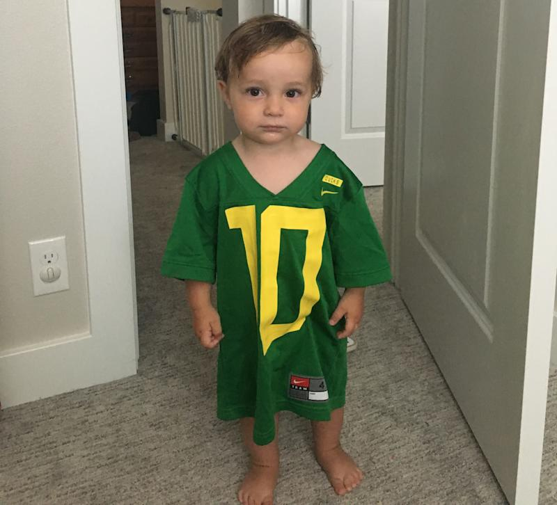 A Eugene couple, Ian and Stephanie Peterson, named their son Herbert after the star Oregon QB and due to their ties with the family. (Credit: Peterson family)