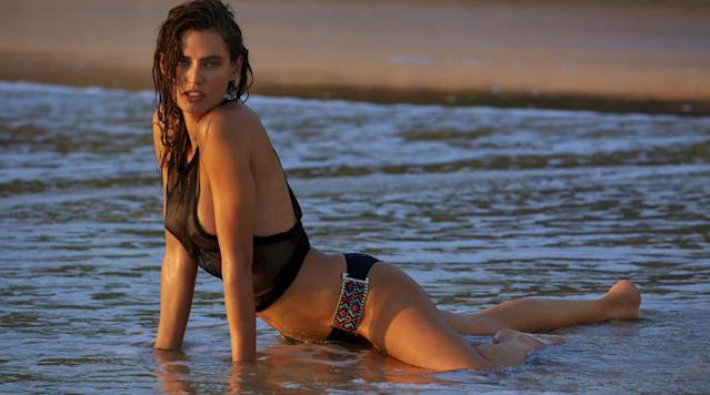 Bianca Balti was photographed by James Macari in Sumba Island. Swimsuit by Beach Bunny. Top by MIKOH.