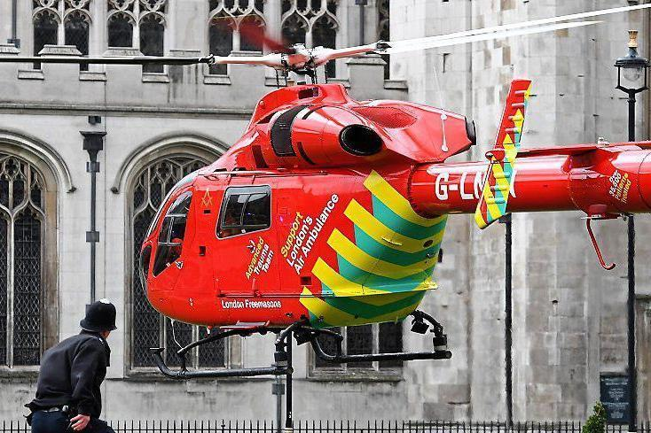 Lifesaver: London's Air Ambulance landing in Westminster after the attack last week