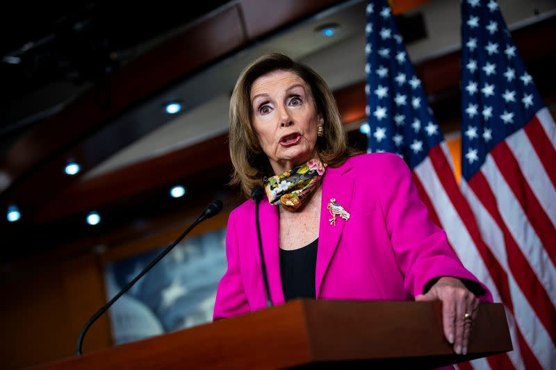 U.S. House Speaker Nancy Pelosi (D-CA) speaks during a news conference on Capitol Hill