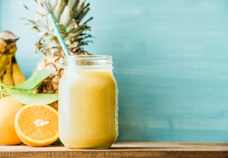 """<p>This golden smoothie looks and tastes like sunshine in a glass, and it's a nutritional knockout to boot. The orange juice and pineapple are high in vitamin C and the banana is a good source of potassium.</p><p><em><a href=""""https://www.goodhousekeeping.com/food-recipes/a8861/pineapple-citrus-smoothie-ghk/"""" rel=""""nofollow noopener"""" target=""""_blank"""" data-ylk=""""slk:Get the recipe for Pineapple-Citrus Smoothie »"""" class=""""link rapid-noclick-resp"""">Get the recipe for Pineapple-Citrus Smoothie »</a></em></p>"""