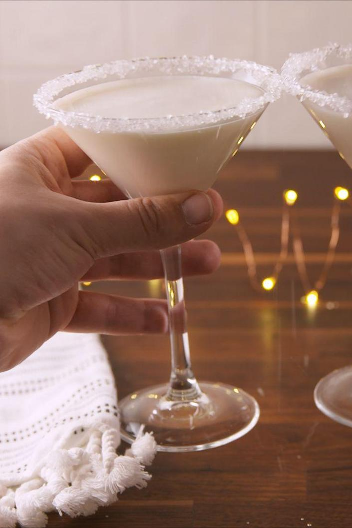 "<p>Below freezing temps call for a Snowflake Martini.</p><p>Get the recipe from <a href=""https://www.delish.com/cooking/recipe-ideas/recipes/a57464/snowflake-martini-recipe/"" rel=""nofollow noopener"" target=""_blank"" data-ylk=""slk:Delish"" class=""link rapid-noclick-resp"">Delish</a>. </p>"
