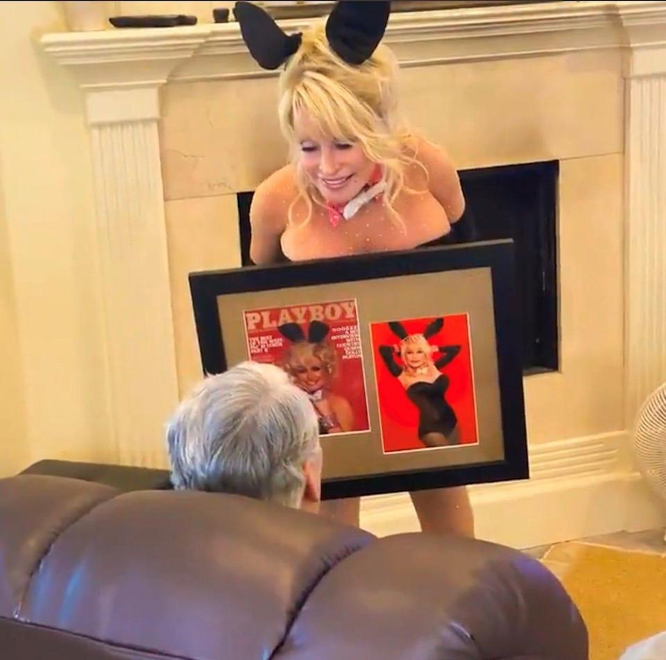 Dolly Parton sent Twitter into a frenzy after posting a clip of herself dressed up as a Playboy bunny to celebrate her husband's birthday.