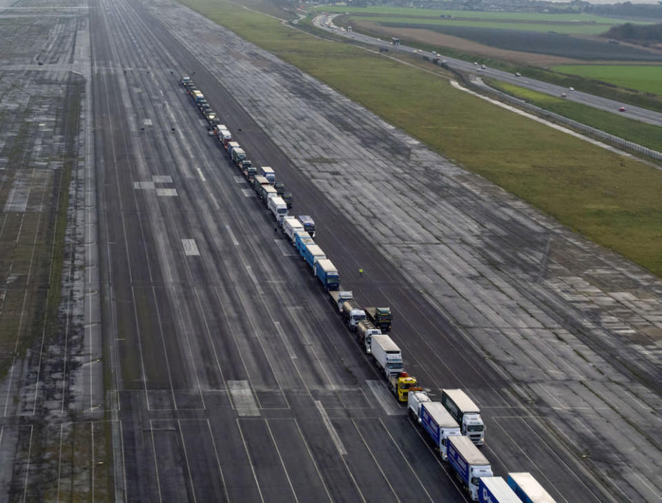 Lorries parked in a queue during a trial at the former Manston Airport site in Kent of a government plan to hold lorries there in the event of post-Brexit disruption at the channel ports (Picture: PA)
