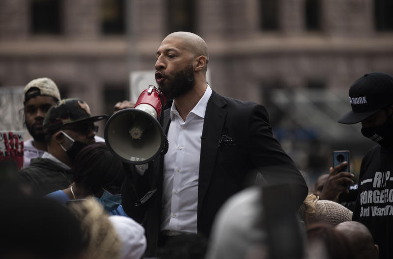 Former NBA player Royce White speaks during a protest outside the Hennepin County Government Center on May 29, 2020, in Minneapolis, Minnesota. White, a Minnesota native, joined former NBA player Stephen Jackson calling for the prosecution the officers involved in the killing of George Floyd.