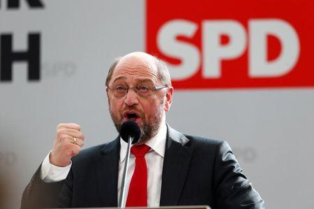 Social Democratic Party (SPD) leader Martin Schulz speaks during a  traditional Ash Wednesday meeting in Vilshofen