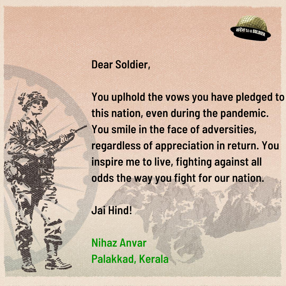 Nihaz Anvar from Kerala sends his sandesh to a soldier.