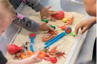 """<p>Sensory play isn't just good for a child's development. It's also a ton of fun! Let them experiment with shaving cream on their arms and hands, dig in the sand for hidden treasure and toy insects, and even make shapes with play dough for tactile fun. Then send them home with a goodie bag of their sensory favorites like <a href=""""https://www.amazon.com/Kinetic-Sand-Mixing-Molding-Creating/dp/B07GTB3H8T?tag=syn-yahoo-20&ascsubtag=%5Bartid%7C10070.g.32946619%5Bsrc%7Cyahoo-us"""" rel=""""nofollow noopener"""" target=""""_blank"""" data-ylk=""""slk:kinetic sand"""" class=""""link rapid-noclick-resp"""">kinetic sand</a>, <a href=""""https://www.amazon.com/DITTOPSS-Multicolor-Sensory-Silicone-Reliever/dp/B08YCYTG99?tag=syn-yahoo-20&ascsubtag=%5Bartid%7C10070.g.32946619%5Bsrc%7Cyahoo-us"""" rel=""""nofollow noopener"""" target=""""_blank"""" data-ylk=""""slk:fidget poppers"""" class=""""link rapid-noclick-resp"""">fidget poppers</a>, and <a href=""""https://www.amazon.com/Giraffe-Magic-Water-Beads-12-25oz/dp/B071CHP8T1?tag=syn-yahoo-20&ascsubtag=%5Bartid%7C10070.g.32946619%5Bsrc%7Cyahoo-us"""" rel=""""nofollow noopener"""" target=""""_blank"""" data-ylk=""""slk:water beads"""" class=""""link rapid-noclick-resp"""">water beads</a>.</p>"""