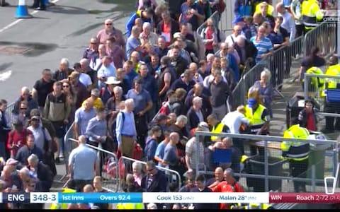 Queue to get in - Credit: Sky Sports Cricket