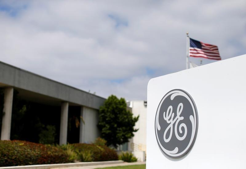 The logo of Dow Jones Industrial Average stock market index listed company General Electric