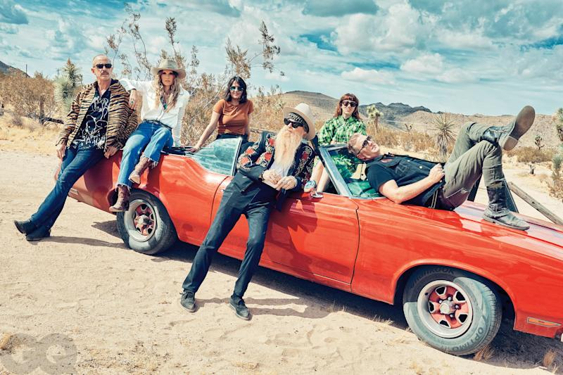 The latest incarnation of the Desert Sessions (from left): Matt Sweeney (guitar), Libby Grace (guitar, vocals), Stella Mozgawa (drums), Billy Gibbons (guitar), Carla Azar (drums), and Josh Homme (guitar, vocals).