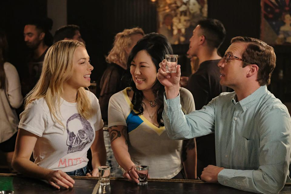 """Andrea (Iliza Shlesinger, left) and her pal Margot (Margaret Cho) are charmed by the nerdy Dennis (Ryan Hansen) in """"Good on Paper."""""""