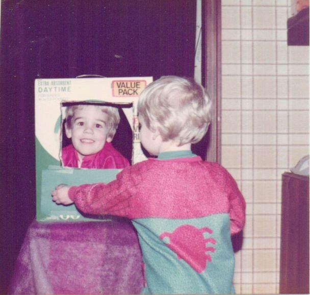 PHOTO: James Van Der Beek pictured as a child in a TV he and his sibling made from a cardboard box (James Van Der Beek)