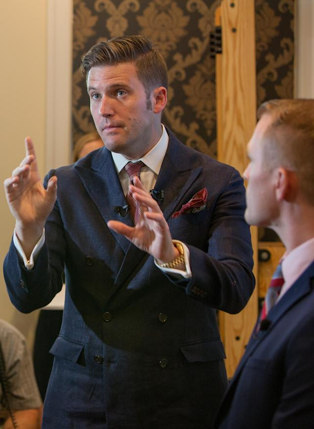 "White nationalist Richard Spencer sporting the ""neo-Nazi"" hairdo. (Photo: Getty Images)"