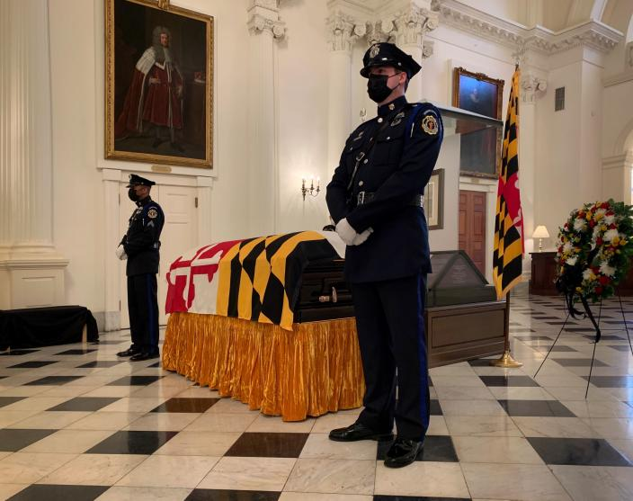 Maryland Senate President Emeritus Thomas V. Mike Miller, Jr. lies in state at the Maryland Statehouse in Annapolis, Md., on Friday, Jan. 22, 2021. Miller was a state legislator for 50 years. A Democrat, he served as president of the Maryland Senate for 33 years. He announced he was stepping down from the post in 2019, but he remained a senator until December. (Bill O'Leary/The Washington Post via AP, Pool)