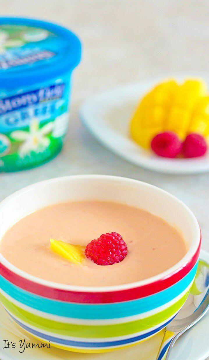 """<p>You can whip up this fruity soup in a blender in just five minutes, it's that easy!</p><p><strong>Get the recipe at <a href=""""http://www.itsyummi.com/mango-raspberry-soup/"""" rel=""""nofollow noopener"""" target=""""_blank"""" data-ylk=""""slk:It's Yummi"""" class=""""link rapid-noclick-resp"""">It's Yummi</a>.</strong></p>"""
