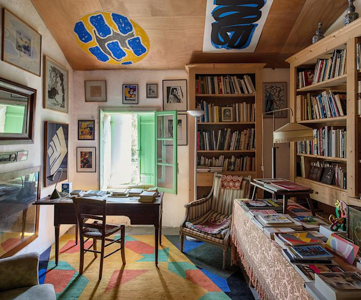 The library, where de Rougemont keeps his works on paper.