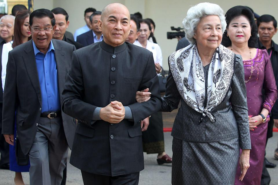 <p>Norodom Sihamoni is the King of Cambodia and here, is pictured alongside Queen Mother, Norodom Monineath. <em>[Photo: Getty]</em> </p>