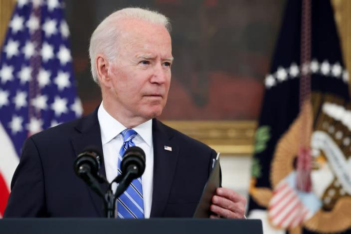 FILE PHOTO: U.S. President Biden delivers remarks on the economy at the White House in Washington
