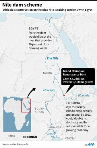 Map of eastern Africa, showing the Nile River and the location of the Grand Ethiopian Renaissance Dam