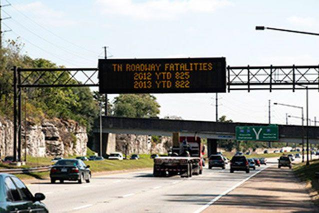 Tennessee's road signs told people how many people were killed on the road compared to the year before. Source: Tennessee Department of Transportation