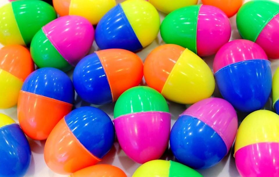 """Why should you only get to use those bright and colorful plastic Easter eggs once a year? Give them a new purpose by using them to store your kids' snacks. According to <a rel=""""nofollow noopener"""" href=""""https://weelicious.com/2013/03/25/easter-egg-lunch-box/"""" target=""""_blank"""" data-ylk=""""slk:Weelicious"""" class=""""link rapid-noclick-resp"""">Weelicious</a>, they're perfect for everything from veggies to mini sandwiches and will surely bring a smile to your child's face once they open their lunch box at school."""