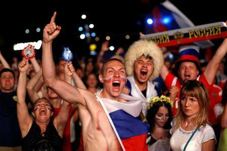 FILE PHOTO: Russian fans react during the match against Egypt in Fan's zone, Sochi, Russia June 19, 2018 . REUTERS/Francois Lenoir/File Photo